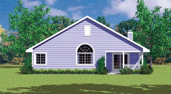 Traditional House Plan 95272 with 3 Beds, 2 Baths, 2 Car Garage Rear Elevation