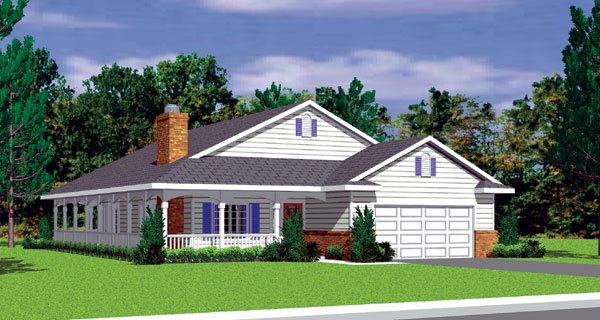 Ranch House Plan 95273 with 4 Beds, 4 Baths Elevation