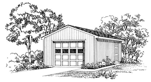 1 Car Garage Plan 95290 Elevation