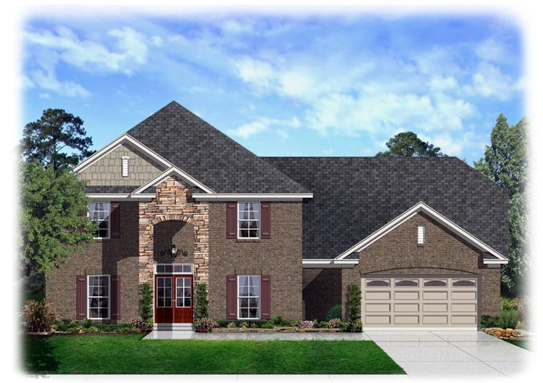 Traditional House Plan 95343 with 4 Beds, 3 Baths, 2 Car Garage Elevation