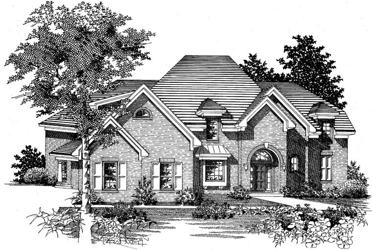 Traditional House Plan 95346 with 4 Beds, 3 Baths, 3 Car Garage Picture 1