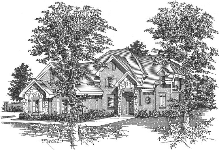 Traditional House Plan 95347 with 4 Beds, 3 Baths, 3 Car Garage Picture 1