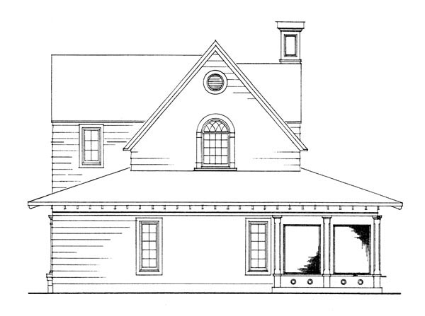 Cottage, Country, Craftsman, Farmhouse House Plan 95541 with 3 Beds, 2 Baths, 2 Car Garage Rear Elevation