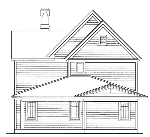 Country, Farmhouse, Victorian House Plan 95569 with 3 Beds, 3 Baths, 2 Car Garage Rear Elevation