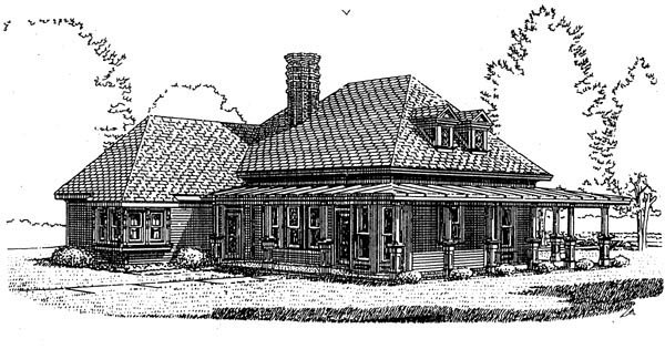 Country, Farmhouse, Victorian House Plan 95582 with 3 Beds, 2 Baths Rear Elevation