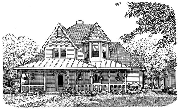 Country, Victorian House Plan 95738 with 3 Beds, 3 Baths Elevation