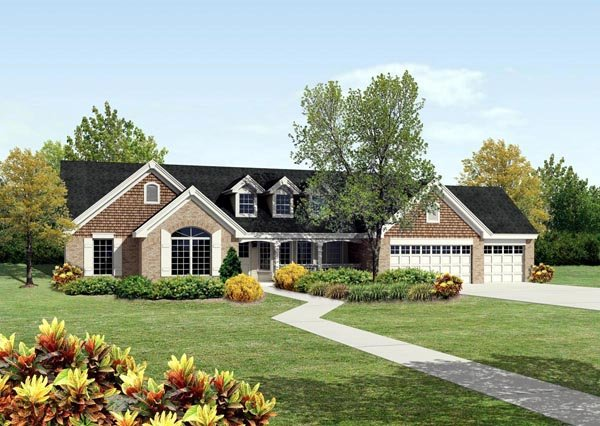 Cape Cod, Country, Ranch, Traditional House Plan 95812 with 4 Beds, 3 Baths, 3 Car Garage Elevation