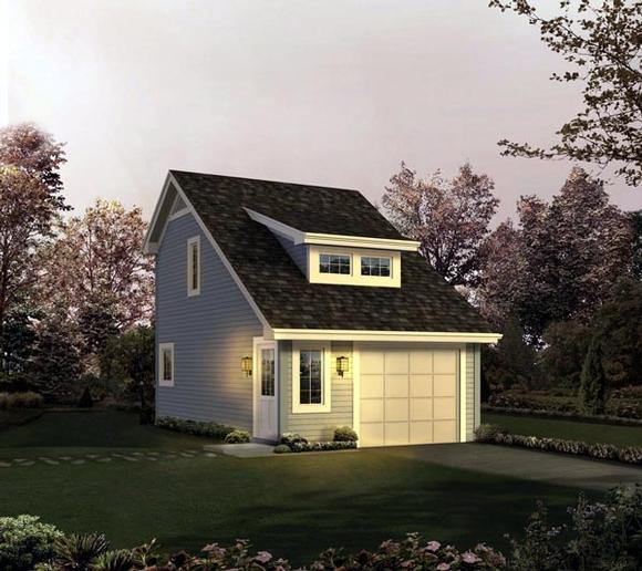 Cabin, Cottage, Country, Saltbox, Traditional 1 Car Garage Apartment Plan 95833 with 1 Beds, 1 Baths Elevation