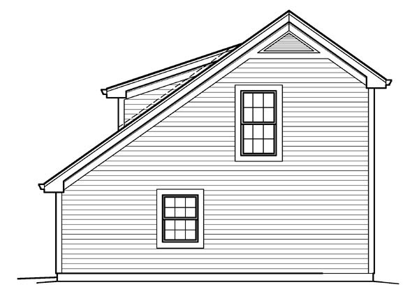 Cabin, Cottage, Country, Saltbox, Traditional 1 Car Garage Apartment Plan 95833 with 1 Beds, 1 Baths Picture 2