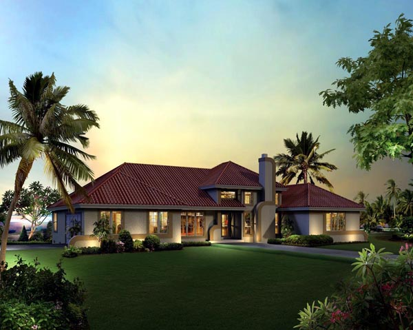 Contemporary, Florida, Ranch, Southwest House Plan 95858 with 3 Beds, 3 Baths, 2 Car Garage Elevation