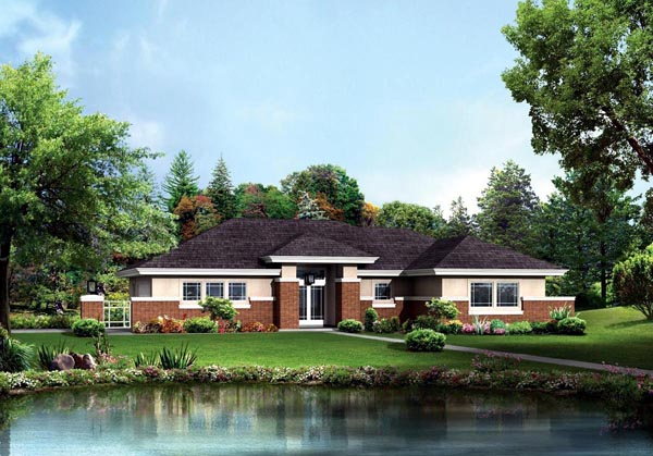Contemporary, Prairie House Plan 95886 with 3 Beds, 3 Baths, 2 Car Garage Elevation