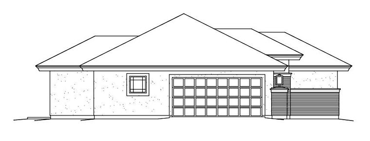 Contemporary, Prairie House Plan 95886 with 3 Beds, 3 Baths, 2 Car Garage Picture 1