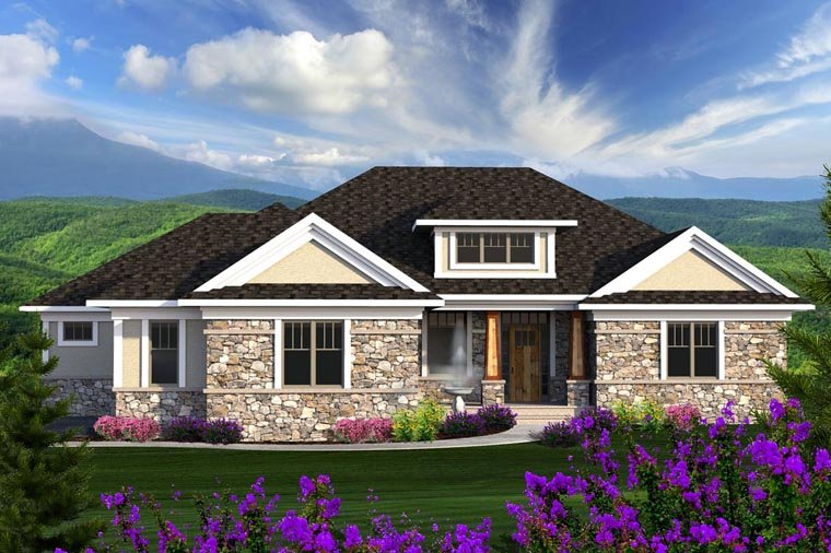 Ranch House Plan 96136 with 2 Beds, 3 Baths, 2 Car Garage Elevation