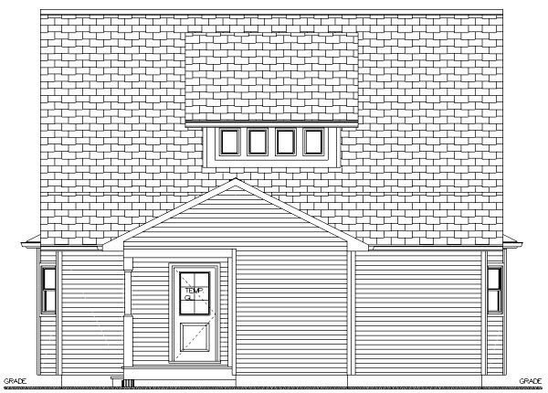 Cape Cod House Plan 96205 with 3 Beds, 2 Baths Rear Elevation