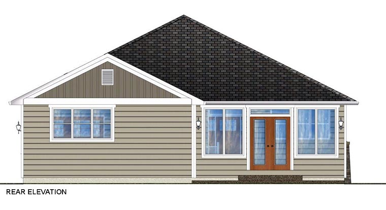 Craftsman, Traditional House Plan 96228 with 3 Beds, 2 Baths, 2 Car Garage Rear Elevation