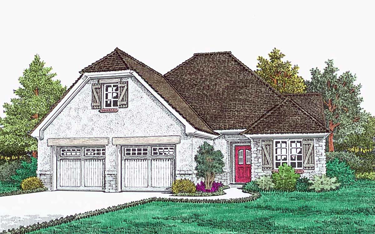European, French Country House Plan 96349 with 2 Beds, 3 Baths, 2 Car Garage Elevation