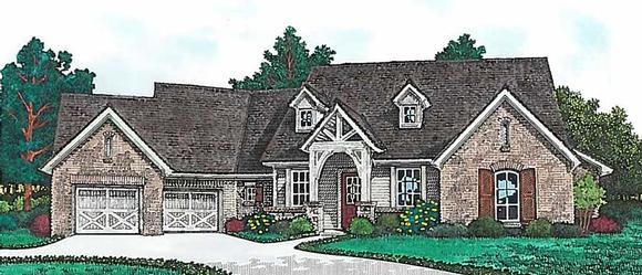 Country, European, Farmhouse, French Country, Ranch House Plan 96350 with 4 Beds, 4 Baths, 2 Car Garage Elevation