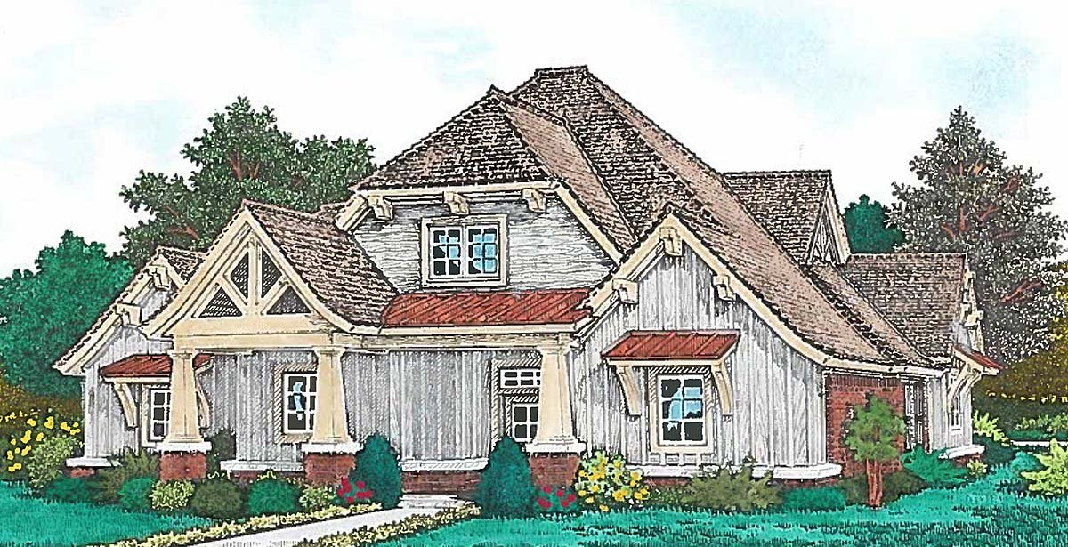 Craftsman, European, Farmhouse, French Country House Plan 96351 with 4 Beds, 4 Baths, 3 Car Garage Elevation