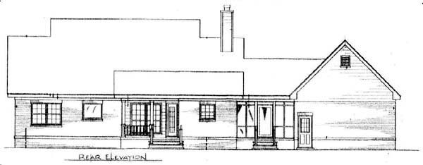 Cape Cod, Country House Plan 96542 with 3 Beds, 2 Baths, 1 Car Garage Rear Elevation