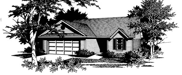 Narrow Lot, One-Story, Ranch, Traditional House Plan 96570 with 3 Beds, 2 Baths Elevation