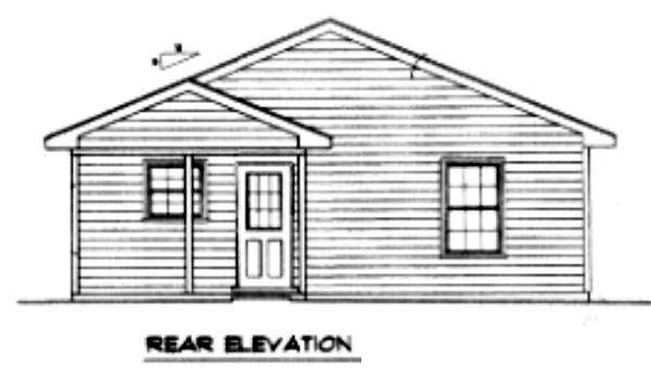 Traditional House Plan 96700 with 2 Beds, 1 Baths Rear Elevation