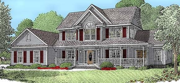 Country, Farmhouse House Plan 96833 with 4 Beds, 3 Baths, 3 Car Garage Elevation