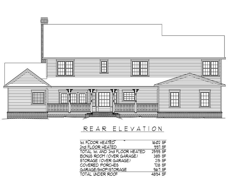 Country, Farmhouse House Plan 96839 with 5 Beds, 3 Baths, 3 Car Garage Rear Elevation