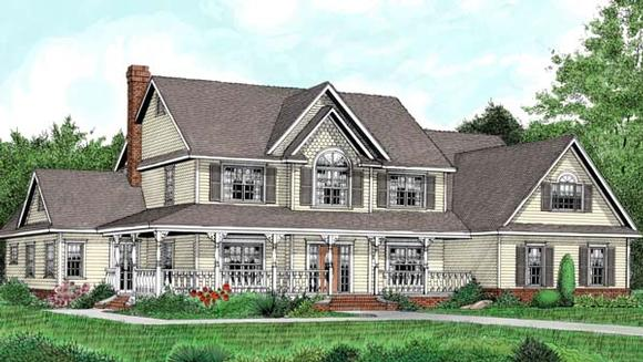 Country, Farmhouse House Plan 96840 with 5 Beds, 3 Baths, 2 Car Garage Elevation