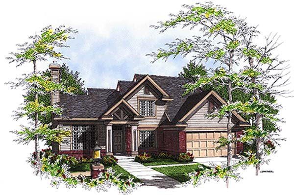 Bungalow, Country House Plan 97131 with 4 Beds, 3 Baths, 2 Car Garage Elevation