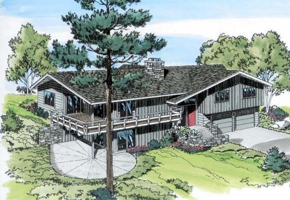 Contemporary, Retro House Plan 9714 with 4 Beds, 3 Baths, 2 Car Garage Elevation