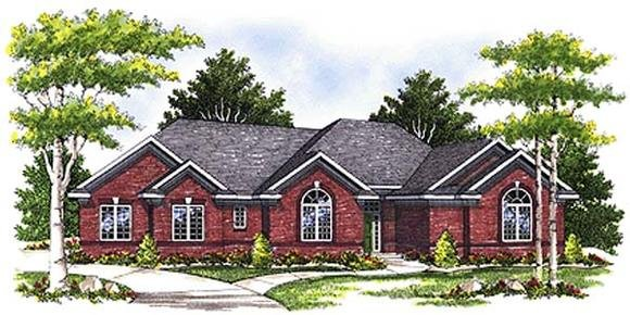 European, One-Story House Plan 97193 with 3 Beds, 3 Baths, 3 Car Garage Elevation