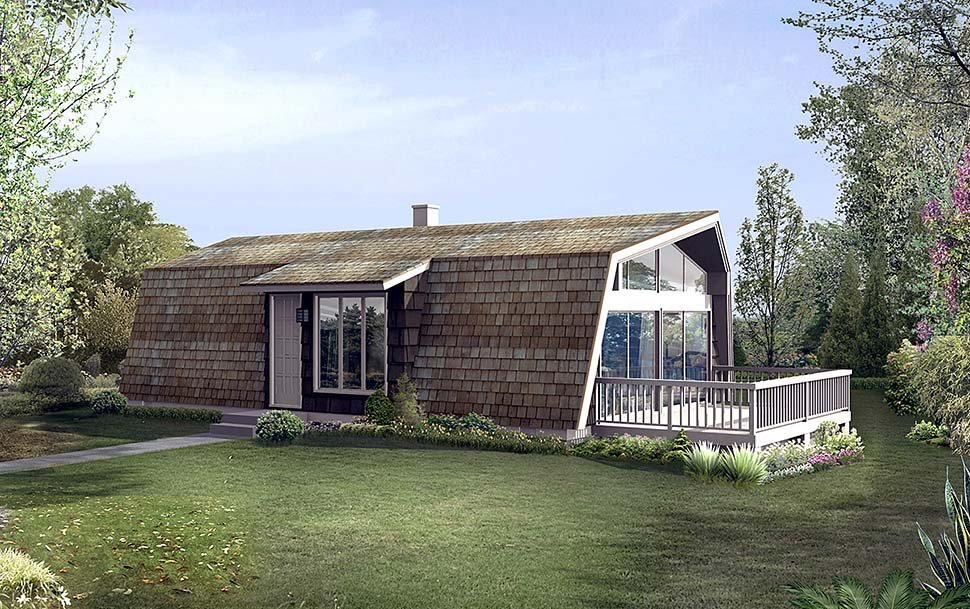 A-Frame, Contemporary, Retro House Plan 97234 with 2 Beds, 1 Baths Elevation