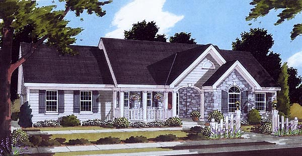 Bungalow, One-Story, Ranch House Plan 97760 with 3 Beds, 2 Baths, 2 Car Garage Elevation