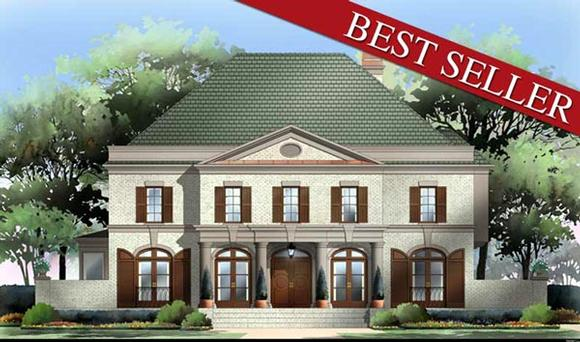 Colonial, European, Greek Revival House Plan 98206 with 4 Beds, 4 Baths, 3 Car Garage Elevation