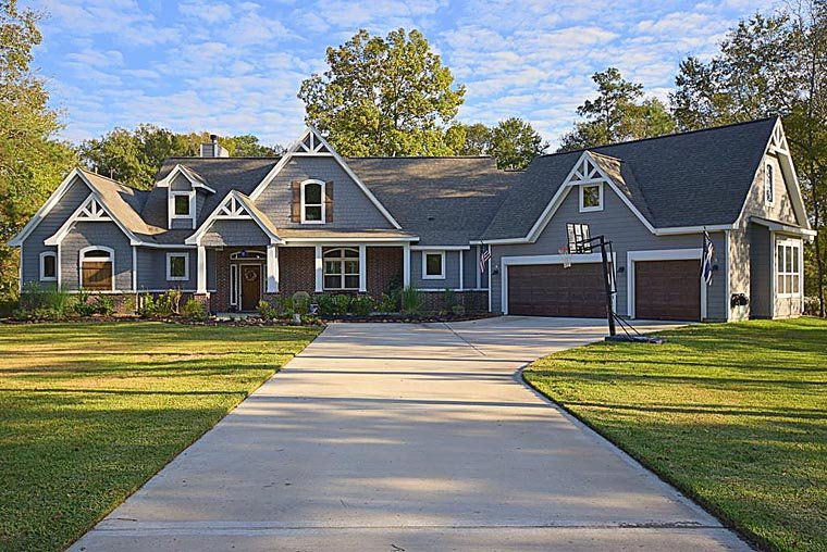 Country, Craftsman, Traditional, Tudor House Plan 98267 with 3 Beds, 4 Baths, 3 Car Garage Elevation