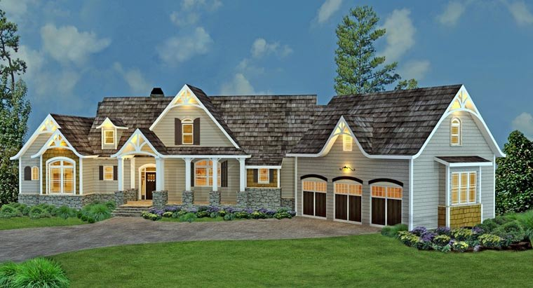 Country, Craftsman, Traditional, Tudor House Plan 98267 with 3 Beds, 4 Baths, 3 Car Garage Picture 2