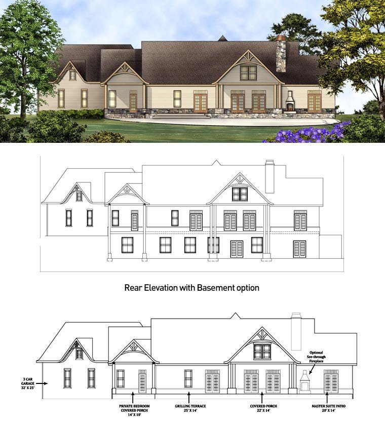Country, Craftsman, Traditional, Tudor House Plan 98267 with 3 Beds, 4 Baths, 3 Car Garage Rear Elevation