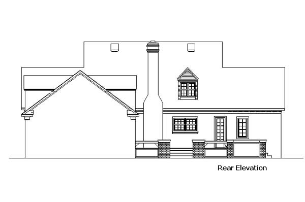 Cape Cod, Colonial, Country, Southern House Plan 98369 with 4 Beds, 4 Baths, 3 Car Garage Rear Elevation