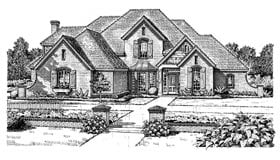 European, French Country House Plan 98537 with 4 Beds, 4 Baths, 3 Car Garage Elevation