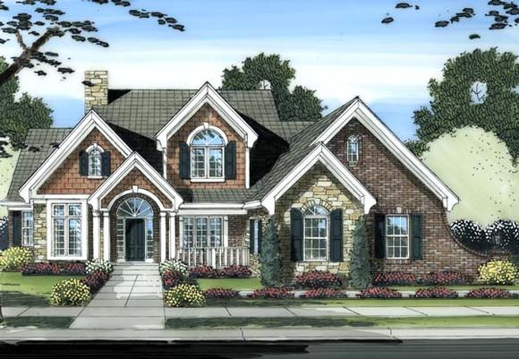 Traditional House Plan 98603 with 4 Beds, 4 Baths, 2 Car Garage Elevation