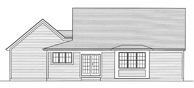 Cape Cod, Country House Plan 98696 with 3 Beds, 3 Baths, 2 Car Garage Rear Elevation