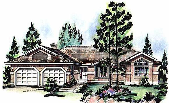 Florida, Mediterranean, One-Story, Ranch House Plan 98802 with 3 Beds, 3 Baths, 2 Car Garage Elevation