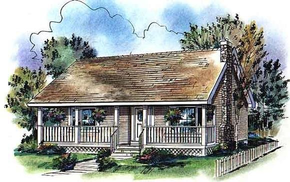 Country, Narrow Lot, One-Story House Plan 98872 with 2 Beds, 1 Baths Elevation