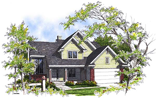 Colonial House Plan 99137 with 3 Beds, 3 Baths, 2 Car Garage Elevation