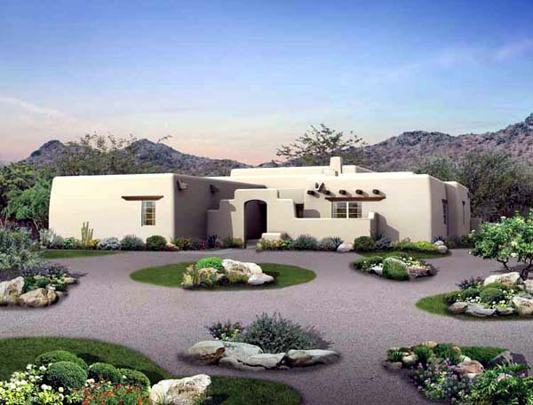 Santa Fe, Southwest House Plan 99274 with 3 Beds, 3 Baths, 2 Car Garage Elevation