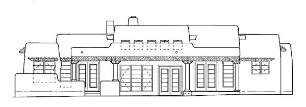 Santa Fe, Southwest House Plan 99274 with 3 Beds, 3 Baths, 2 Car Garage Rear Elevation