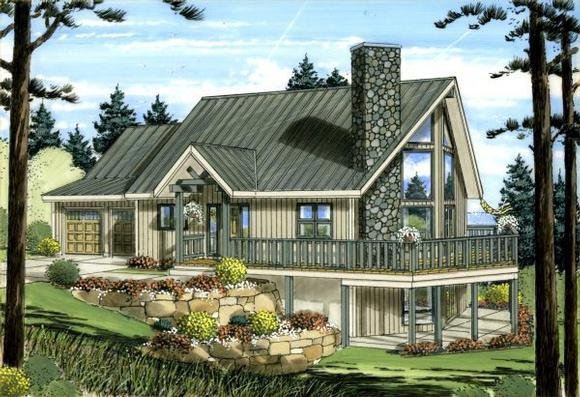 Contemporary House Plan 99943 with 2 Beds, 2 Baths, 2 Car Garage Elevation