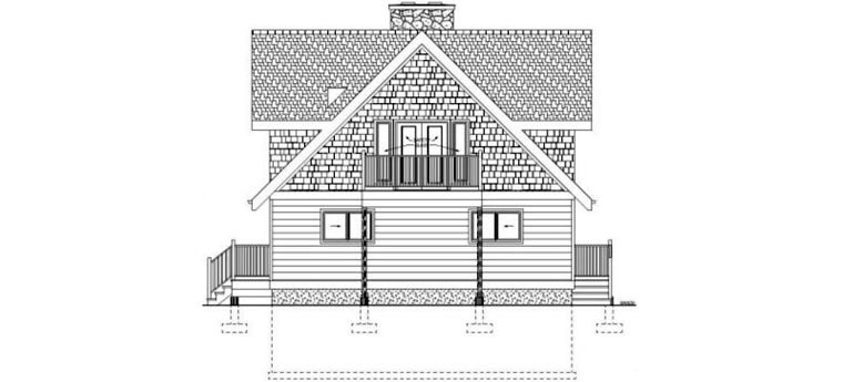 Contemporary, Traditional House Plan 99961 with 3 Beds, 2 Baths Rear Elevation