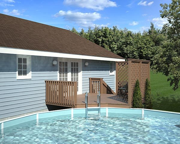 90004 - Easy Pool Deck w/ Privacy Screen