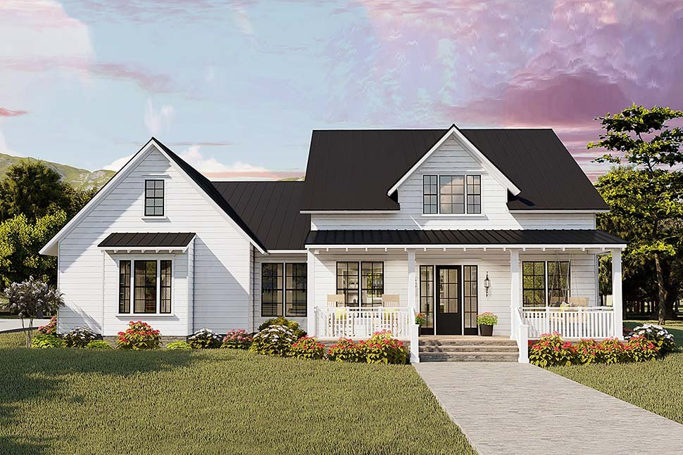 Cottage, Country, Craftsman, Farmhouse, Ranch, Southern, Traditional Plan with 2480 Sq. Ft., 4 Bedrooms, 2 Bathrooms, 2 Car Garage Elevation